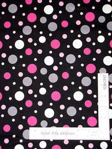 95286ff06a8 Image is loading Circle-Dots-Grey-Pink-Cream-Cotton-Fabric-Kensington-