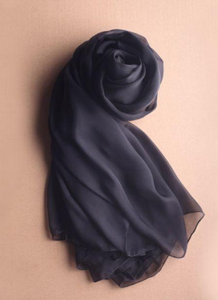 Lady Women Fashion Stylish Soft Silk Chiffon Scarf Wrap Shawl Stole Black