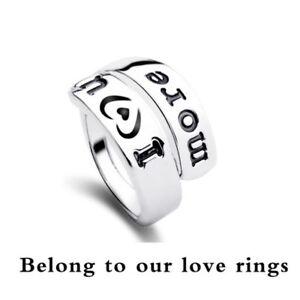 I-Love-You-More-Monogramma-stile-Vintage-Argento-Nero-Lettera-simbolica-RING-FR296