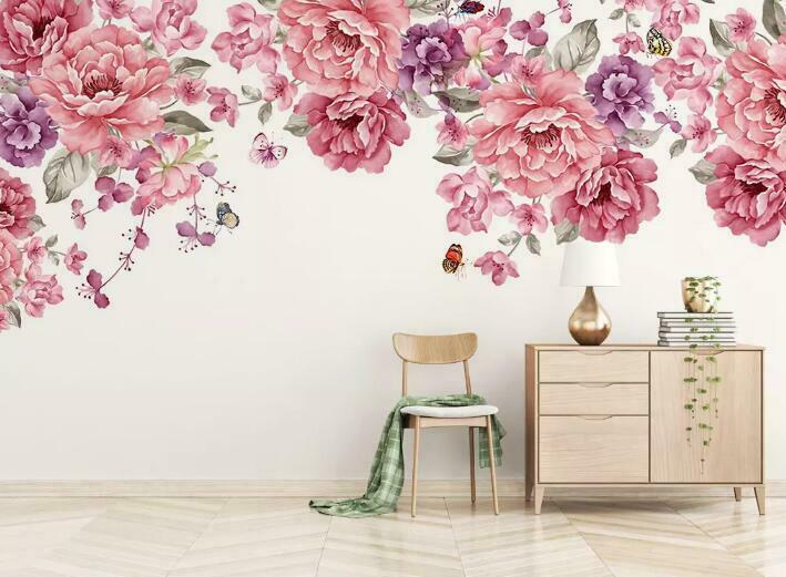 3D rot Flowers I1480 Wallpaper Mural Sefl-adhesive Removable Sticker Wendy