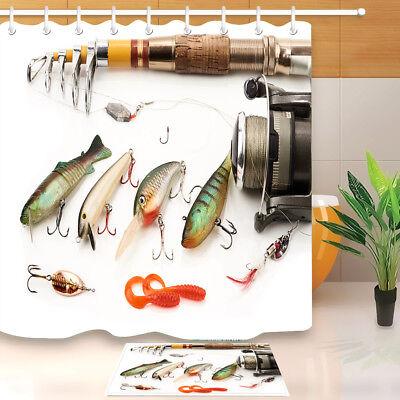 "71/"" Funny Used Fishing Lures Shower Curtain Liner Waterproof Bathroom Mat Hooks"