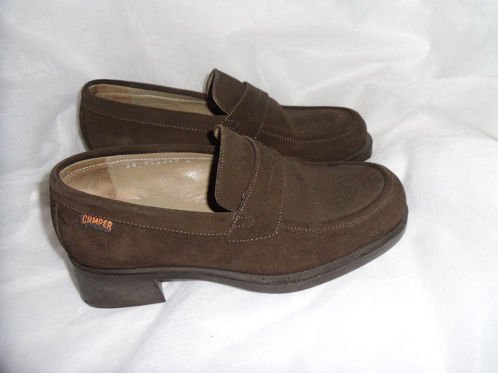 Camper Femmes Marron Daim Cuir Lacet Chaussures Taille UK 2.5 EU 35 très bon état
