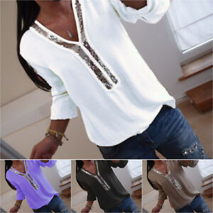 Women-039-s-Long-Sleeve-Sequin-V-neck-Tops-Blouse-Ladies-Casual-T-Shirt-Plus-Size