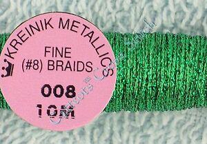 Kreinik-Braid-8-008-Green-Metallic-Thread-Fine-10M-Cross-Stitch-Needlepoint