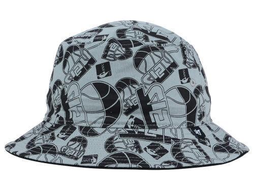 4a29ce155 Brooklyn Nets  47 BRAND NBA Bravado Bucket Hat   Cap All Over Team ...