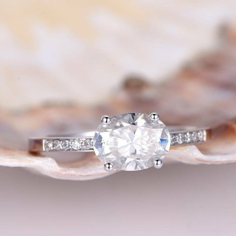 Solitaire Promise Engagement Ring 1ct Oval Cut Diamond 14k White gold Finish