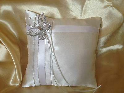 WEDDING RING PILLOW WITH BUTTERFLY/IVORY/WHITE&OTHER COLOURS/ 19x19cm/7.5''x7.5