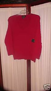 Red Large Cotton L Lauren Ralph Nuovo Sweater Nwt Womens Top 68KxwIqKEB