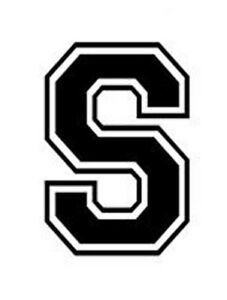 Varsity College Lettering Letter S Car Tablet Vinyl Decal