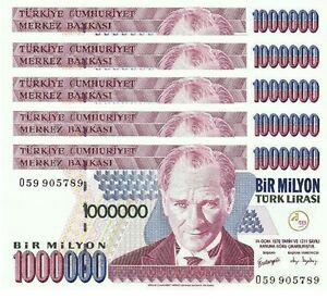 S SERI P-213 1996 UNC TURKEY 1000000 LIRA 1970 2 PCS CONSECUTIVE PAIR