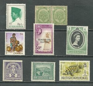 Indonesia-Republik-British-Honduras-Zambia-lot-9-MNH-stamps-pair