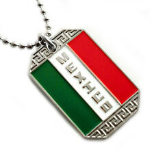 MEXICO FLAG PENDANT NECKLACE MEXICAN HERITAGE BANDERA MEXICANA DOG-TAG CHAIN 28""