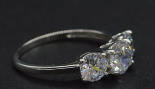 3.00ct triple Created Round Diamond Engagement Ring 14k Solid white Gold ga130