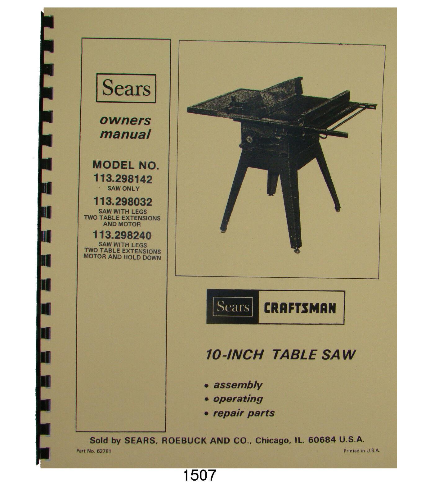 Sears Craftsman 113.298142,113.298032,113.298240 10