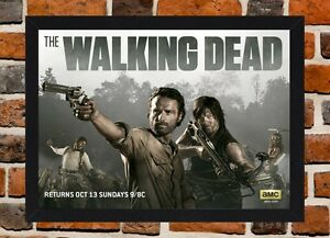 Framed The Walking Dead Tv Show Poster A4 A3 Size In Black White