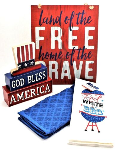 4th of July Kitchen Home Decorations Towels Hanging Picture /& God Bless America