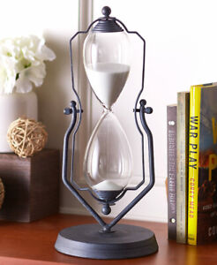 14-034-H-DECORATIVE-VINTAGE-LOOK-HOURGLASS-IN-A-SWIVEL-STAND-ONE-HOUR-TIMER