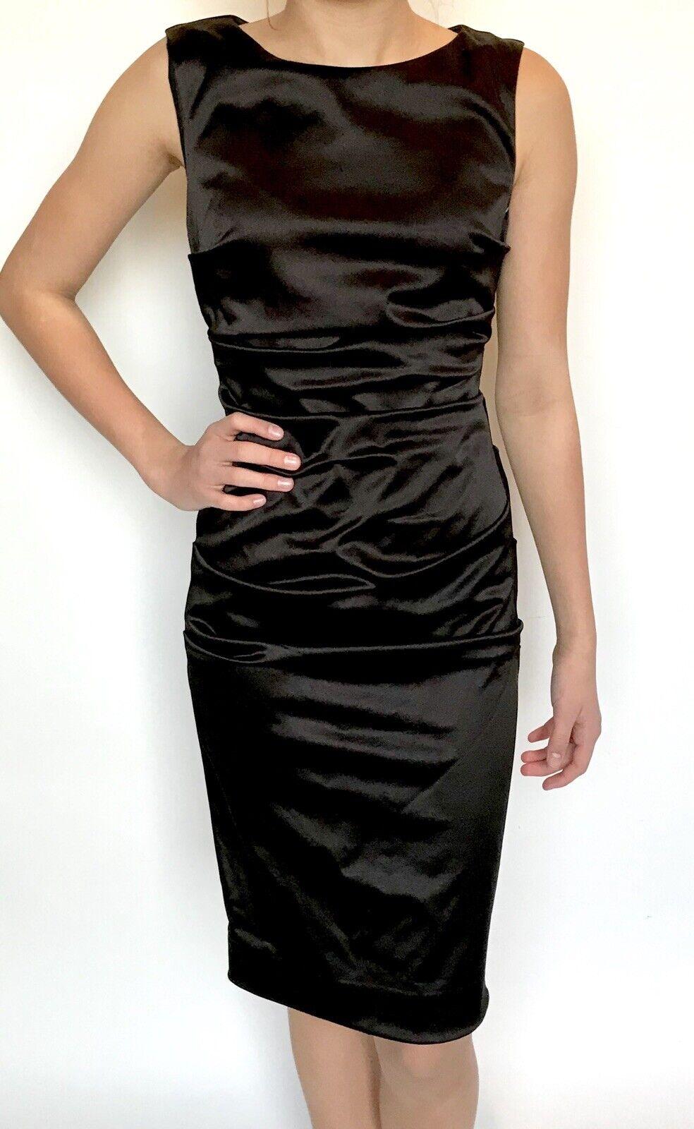 Nicole Miller schwarz Froncé Extensible Robe Moulante Größe 0 Retail  330 Prix  89