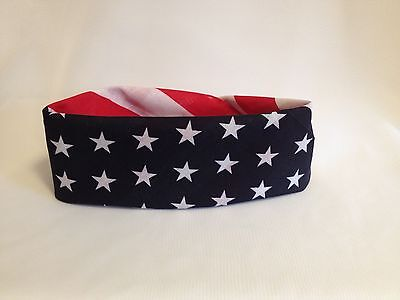 USA AMERICAN FLAG HEAD WRAP BANDANA SCARF STARS STRIPES RED WHITE BLUE 21X21