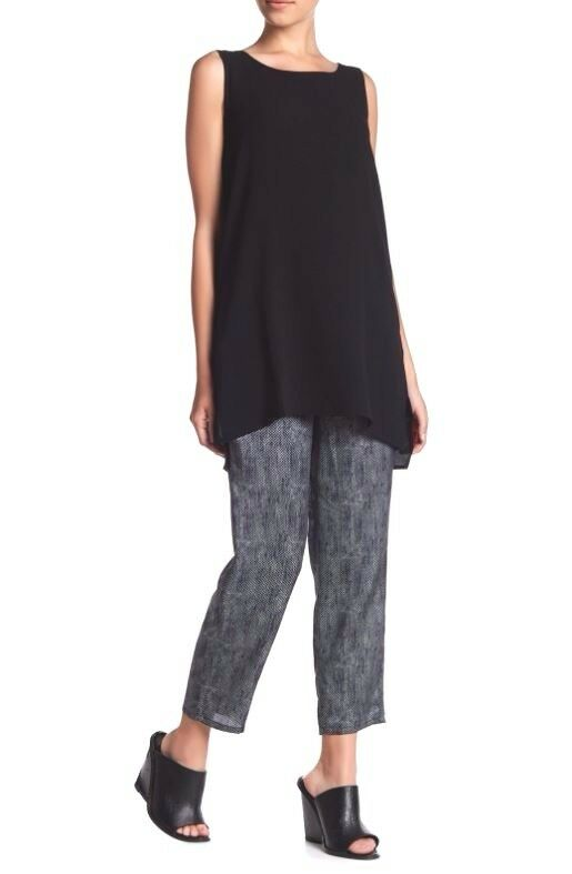 Eileen Fisher Midnight Chainette Printed Silk Cotton Drawstring Ankle Pant XS