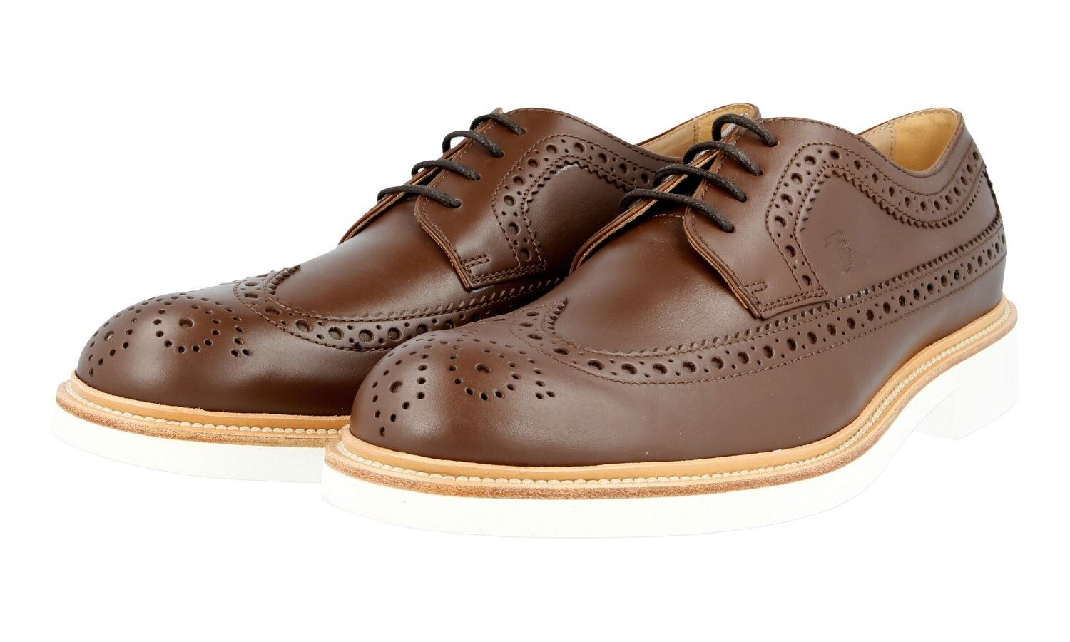 TODS LACE-UP WELT SEWN OXFORD WINGTIP DERBY SHOES BROWN NEW 8,5 42,5 43