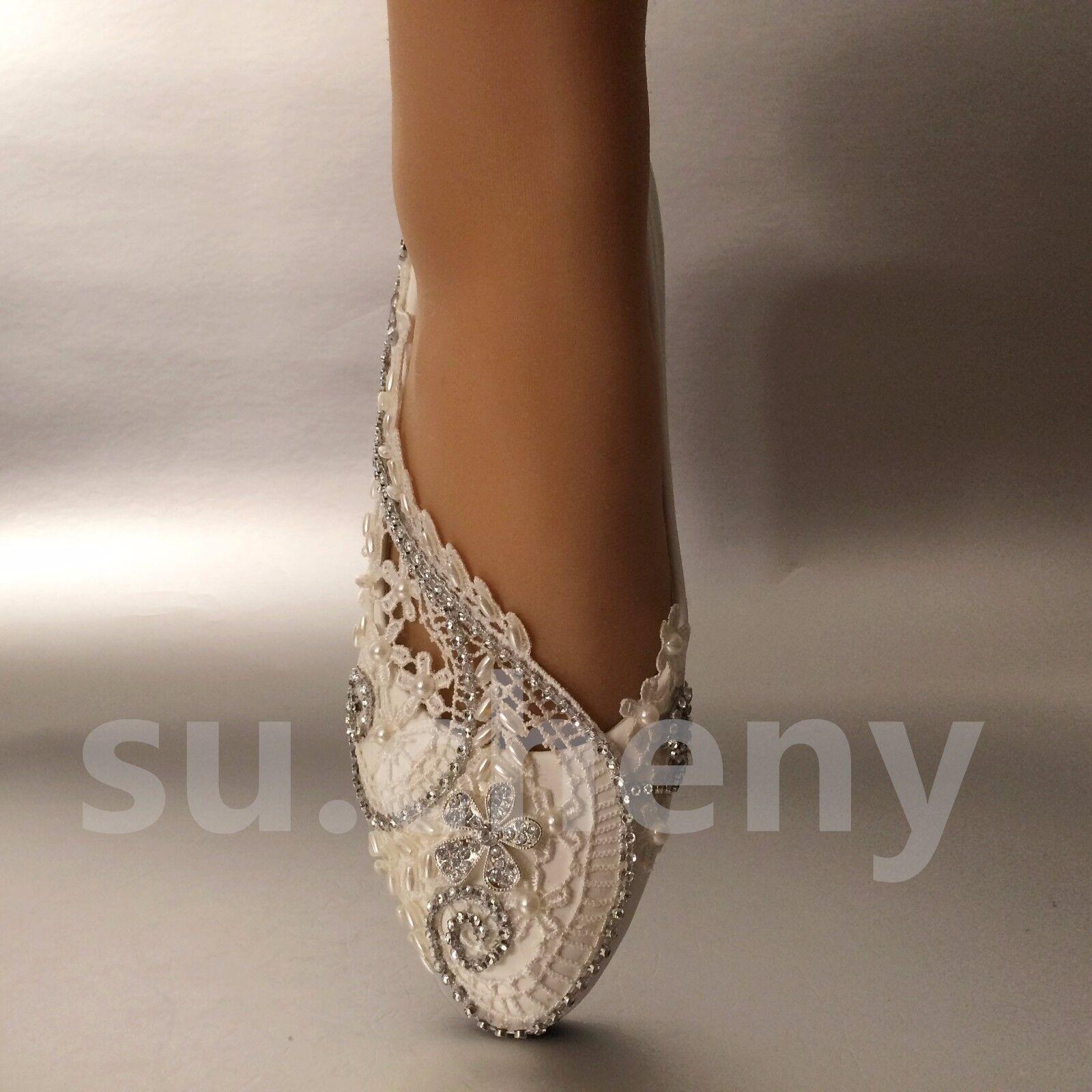 Weiß Elfenbein Perlen Spitze Kristall Hochzeit Schuhe Flach Ballett Ballett Ballett Braut Größe     | Billiger als der Preis  | Langfristiger Ruf  | Billiger als der Preis  a1ec52