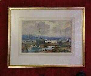 Large-Vintage-Original-Painting-Pwllheli-Maritime-Beachscene-Watercolour