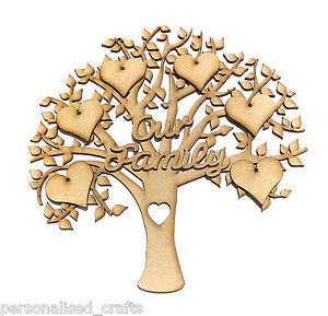 Personalised-Our-Family-Wall-Plaque-Tree-Shape-Memory-Tree-Craft-Embellishment
