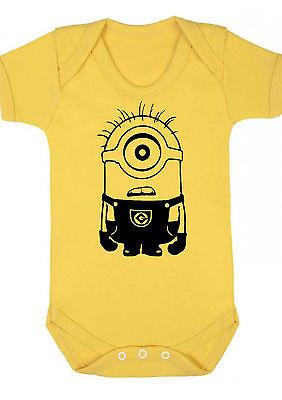 BABY BOY,GIRL,MINIONS Yellow bodysuit VEST,BABYGROW,GIFT,BABY CLOTHES Minion d1
