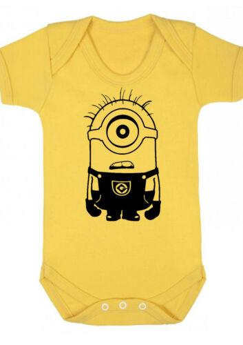 VEST,BABYGROW,GIFT,BABY CLOTHES Minion d2 BABY BOY,GIRL,MINIONS Yellow bodysuit