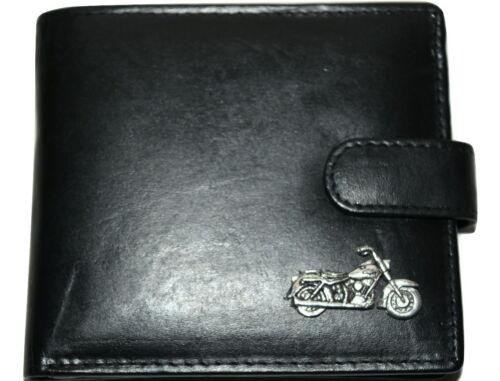 Motorbike Soft Black Leather Wallet Antique Pewter Emblem Gift Idea Men/'s gift