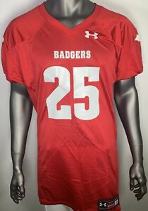 the best attitude f6790 34bf3 Details about New Under Armour Wisconsin Badgers Football Jersey Men's  Large Mesh Red #25