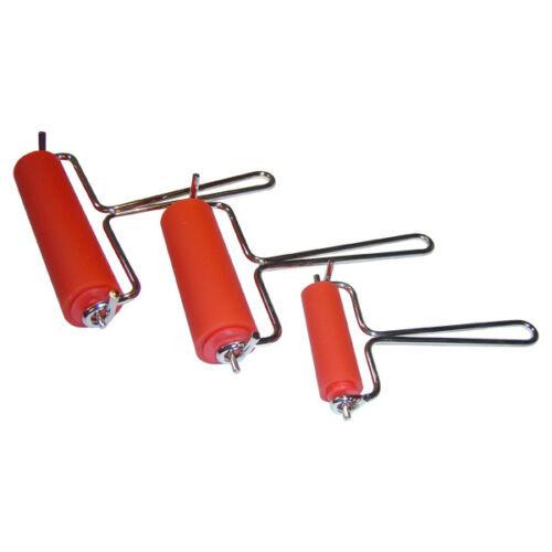 3 x Hard Rubber /& Metal Lino Block Painting Print Brayer Rollers 60mm 85mm 115mm