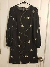 A New Day Womens XS Long Sleeve A-Line Dress Black Floral Business Casual Party