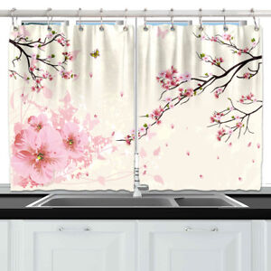 Japan Pink Cherry Blossom Home Kitchen Curtains 2 Panel Set Decor Window Drapes Ebay