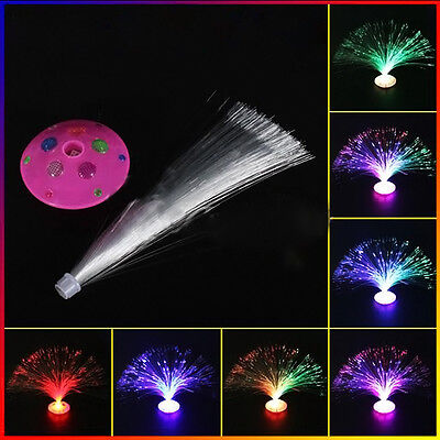 New Color Changing LED Fiber Optic Night Light Lamp Colorful Stand Gift