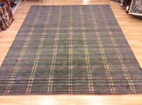 Grey Multi Coloured Striped Handwoven Wool Sitting Room Rug Xxl 244x305cm 60%off