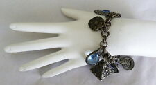 VINTAGE SIGNED GERMANY LARGE GLASS STONE FAUX PEARL CHUNKY CHARM BRACELET