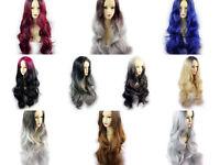 Wiwigs ® Gorgeous Long Wavy Wigs Blonde Grey Blue Brown Dip-Dye Ombre Hair