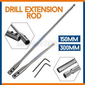 150mm-300mm-Flat-Wood-Drill-Bit-Extension-Bar-Rod-Hex-Socket-Adapter-w