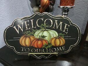 Fall-Thanksgiving-WELCOME-TO-OUR-HOME-Hanging-Wall-Sign-Tabletop-Plaque-Decor