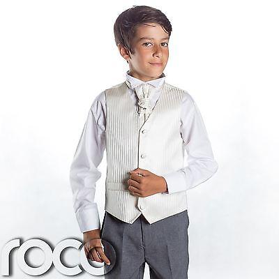 Boys Ivory & Grey Suit, Page Boy Suits, Boys Wedding Suits, Boys Suits, Stripe