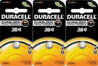 3 Duracell 364 Button Coin Battery Silver Oxide 1.5 Volt Watch/electronic