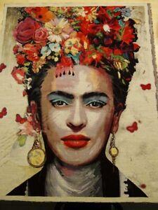 1 St  Gobelin 88 cm x 110 cm  mehrfarbig  stabile Ware Bild Frida Kahlo Kopf Art