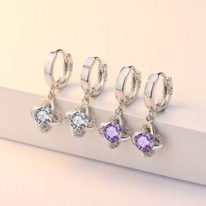 NEW-UK-SELLER-Gorgeous-Amethyst-Zircon-Flower-Drop-925-Sterling-Silver-Earrings