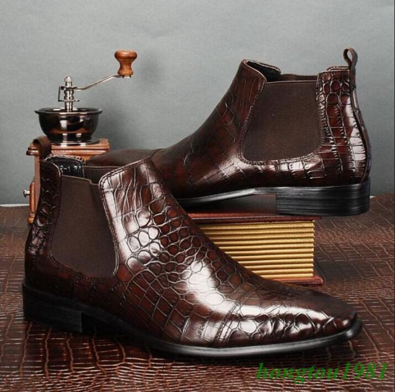 Cocodrilo de Cuero Genuino para Hombre Puntera Puntiaguda Formal Informal botas al tobillo de Gran Bretaña Tamaño