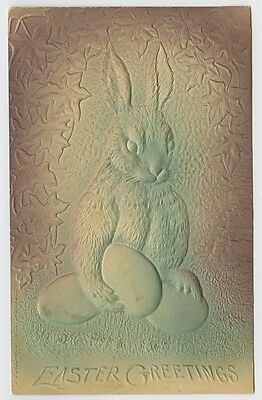 Easter Greetings~Rabbit Holding Eggs~Leaves~c1910~Embossed Postcard