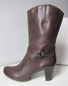 Das Bild wird geladen Tamaris-halbhohe-Stiefel-Stiefeletten-braun-mocca-Gr- 40- eb992b4a78