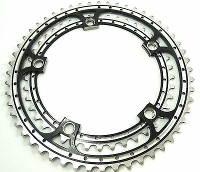 Campagnolo fit Black Chainring Set Rino Anodized 42 & 52T 144 BCD Cranksets NOS