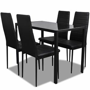 vidaXL Contemporary Dining Set with Table and 4 Chairs Black